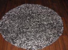 SHAGGYS NEW 120X120CM CIRCLE RUGS WOVEN BACK BLACK/SILVER/OFF WHITE LOVLEY THICK